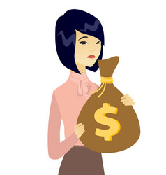 Upset asian business woman with bag full of taxes vector