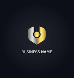 V initial abstract company gold logo vector