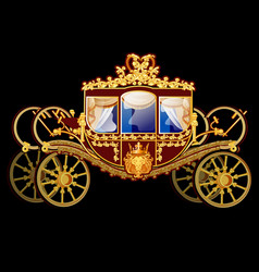 Vintage horse carriage with golden florid ornament vector