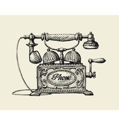 Vintage telephone Hand-drawn sketch retro phone vector image
