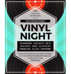 Vintage vinyl LP DJ party poster vector