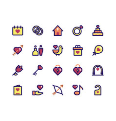 Wedding filled line icons vector