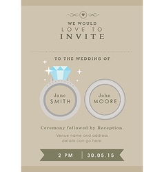 Wedding invitation wedding ring theme vector