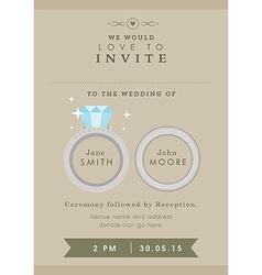 Wedding invitation wedding ring theme vector