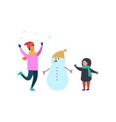 winter activities of family mother and kid vector image
