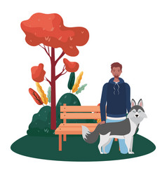 Young afro man with cute dog in park scene vector