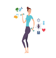 young woman great shape exercising with dumbbells vector image vector image
