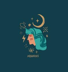 Zodiac girl aquarius character space head sign vector