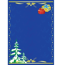 dark blue card with new year tree vector image