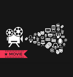 digital red white cinema icons vector image vector image