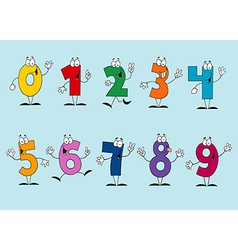 Funny Cartoon Numbers Set vector image