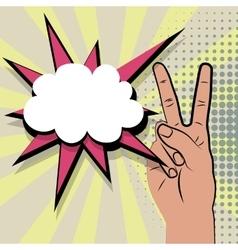 Hand peace sign comic retro pop art vector image vector image