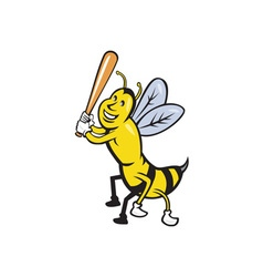Killer Bee Baseball Player Batting Isolated vector image