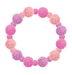 pink baby girl birthday wreath party pom vector image