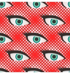 Pop art style halftone eyes pattern vector image vector image