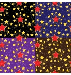 Seamless pattern with stars Set backgrounds vector image