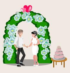 bride groom happy cartoon design vector image