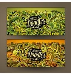 Cartoon cute doodles curls swirls banners vector image vector image