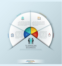 circular infographic design template with 4 vector image vector image
