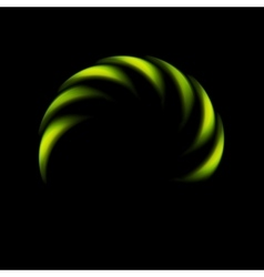 Glowing green abstract logo on black background vector image
