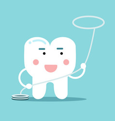 Happy healthy cartoon tooth character with vector