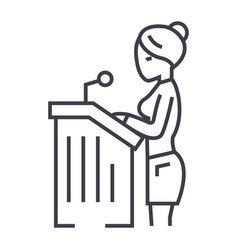 lawyer womanspeech in court line icon vector image vector image