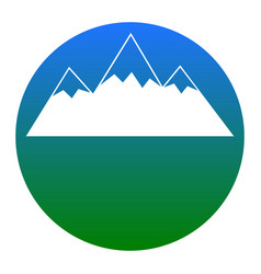 mountain sign white icon in vector image