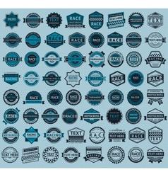 Racing badges - big blue set vintage style vector
