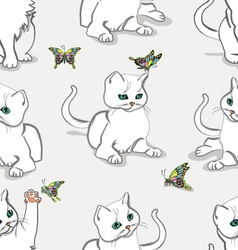 Seamless pattern with kitten vector image vector image