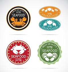 Set of an crab seafood label vector image
