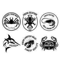 set of seafood market emblems design element for vector image vector image