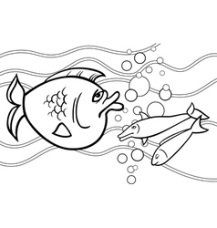 big fish cartoon for coloring book vector image