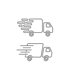 Delivery truck icon line fast shipping cargo van vector image