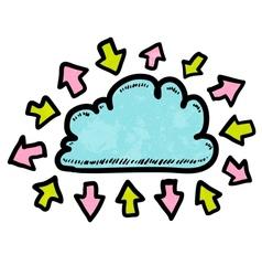 Doodle media cloud with arrows vector image vector image
