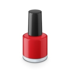 Round red glossy nail polish bottle vector image vector image