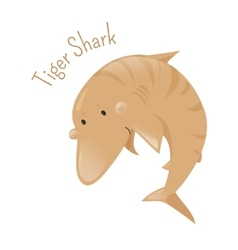 Tiger shark Isolated cartoon character vector image vector image