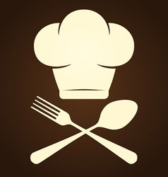 Chef Symbol and Cutlery vector image vector image