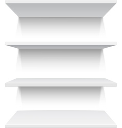 Four white realistic shelves vector image vector image