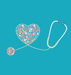 healthcare concept - pills stethoscope vector image