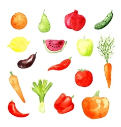 Watercolor fruit and vegetable icons vector image