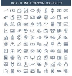 100 financial icons vector