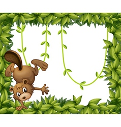 A beaver and green leafy border vector
