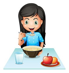 A smiling young lady eating breakfast vector