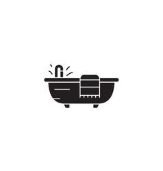 bath with a towel black concept icon bath vector image