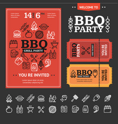 bbq party invitation with thin line icon set vector image