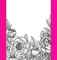 Beautiful frame with black and white peony vector