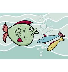 Big fish in the sea cartoon vector