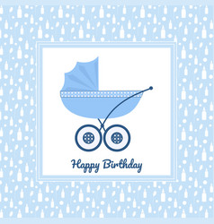birthday greeting card with blue stroller vector image