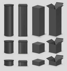 black cardboard box mockup set isolated vector image