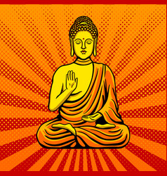 Buddha statue monument pop art style vector